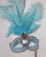 Turquoise and Silver Feather Mask on Stick